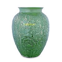 Bình hoa men ngọc khắc nổi hoa phù dung S2
