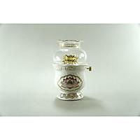 Đèn dầu thờ cúng gốm sứ bạch ngọc vẽ sen hồng cúng Phật đốt dầu lưu ly dầu hỏa - Nhiều cỡ