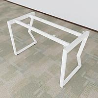 Bộ chân bàn sắt chữ M sơn tĩnh điện màu trắng 1200x580x730mm lắp ráp