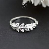 Nhẫn Bạc Ta S99 CaoBac Silver Hình Chiếc Lá Phong Cách Hàn Quốc Cho Nữ