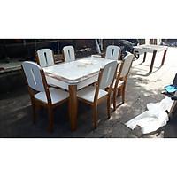 Bàn ăn mặt đá nhập khẩu cao cấp CERATO03 1M6(6 ghế)