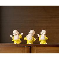 Bộ 3 tượng di lặc gốm vàng vui vẻ