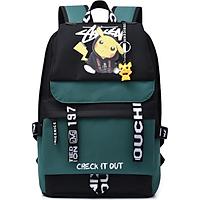 Balo đi học hình Pikachu có dạ quang phát sáng trong đêm, có Lỗ Tai Nghe, cáp sạc USB, Tặng kèm móc khóa Pikachu - Ohazo! BL132