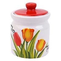 Hũ Đựng Gia Vị Bánh Mứt Hoa Tulip Dáng Trụ Bằng Sứ Cao Cấp Minh Tiến J2