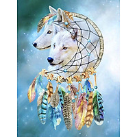 Bimkole 5D Diamond Painting White Wolf Dream Catcher Full Drill DIY Rhinestone Pasted with Diamond Set Arts Craft Decorations (12x16inch)