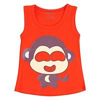 Áo Thun Cotton 4 Chiều Màu Đỏ Cam Hình Con Khỉ