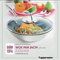 Chảo xào T Chef Series Wok Pan 24cm (nắp kính)