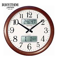 Đồng hồ treo tường Nhật bản Rhythm CFG901NR06 - Kt 41.0 x 5.5cm, 1.46kg Vỏ gỗ, dùng PIN.