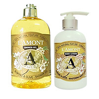 Combo Sữa Tắm L'AMONT Almond & Olive Shower Gel (500ml) Và Sữa Dưỡng Thể L'AMONT Almond & Olive Body Lotion (250ml)
