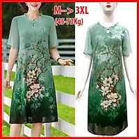 Váy Đầm Trung Niên Dự Tiệc Form Rộng Bigsize Kiểu Đầm Suông In Hoa Đỏ Lớn - THỜI TRANG TRUNG NIÊN ROMI 3314  - XANH CỔ BÈO 3313 - L 53-58KG