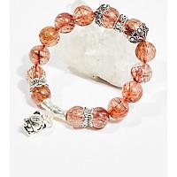 Vòng tay phong thủy đá thạch anh tóc đỏ charm mèo 10mm mệnh hỏa , thổ - Ngọc Quý Gemstones
