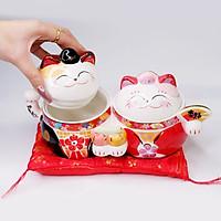 Hũ sứ Mèo Thần tài Jinshi Tân Lang Tân Nương 13cm