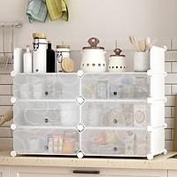 Tủ nhựa lắp ghép đựng đồ dùng nhà bếp kèm móc treo