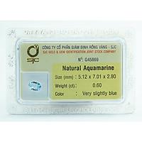 Mặt Đá Aquamarine Kiểm Định Tự Nhiên Mài Giác Oval 5*7 Li