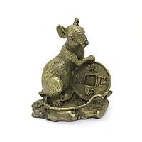 Tượng Đồng Hình Con Chuột Ôm Đồng xu  mang đến sung túc, ấm no , tài lộc thịnh vượng cho năm mới Canh Tý 2020 - MS299