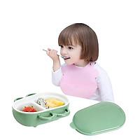 Khay Ăn Dặm cho bé 2 Ngăn Giữ Cách Nhiệt Có nắp đậy chống rò rĩ thức ăn và có tay cầm chống nóng