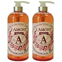 Combo 2 Sữa Tắm L'amont En Provence Cherry Blossom (Hoa Anh Đào) Shower Gel 1000ml/chai
