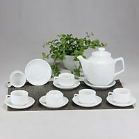 Bộ ấm chén men trắng vuông cao gốm sứ Bát Tràng (bộ bình uống trà, bình trà)