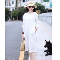 Đầm suông linen tay lỡ kèm đai rời túi sườn ArcticHunter, thời trang trẻ, phong cách Hàn - Trắng