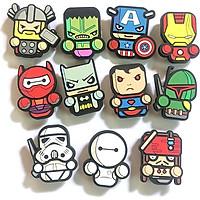 Combo 11 cái Sticker / Jibbitz, nút gắn dép sục, dép cá sấu, hình siêu anh hùng