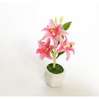 Chậu hoa đất sét mini - Cây hoa ly / Hoa bách hợp / Lily (phát màu ngẫu nhiên) - Quà tặng trang trí handmade
