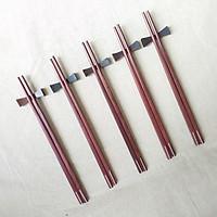 Đũa gỗ Cẩm vuông đầu khảm 4 vạch dọc ( 5 đôi /Túi) - (D8)