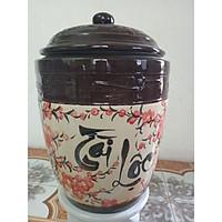 Hũ đựng gạo Bát Tràng tài lộc vẽ hoa đào hình con hạc loại 25kg