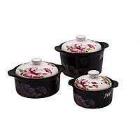 Bộ 3 nồi sứ Royalcooks Santa Rosa 1.3L 2L & 3L nắp trắng hoa