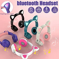 LED Cat Ear Cute Headset Wireless Earphone Kids Bluetooth 5.0 HIFI Stereo Bass Headphone with Microphone Phone Computer For Online Learning Gifts