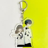 Móc khóa mica trong acrylic 2 mặt CON TIM RUNG ĐỘNG anime chibi