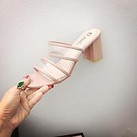 K32: sandal gót vuông quai trong