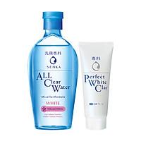 Combo Nước tẩy trang dưỡng trắng Senka All Clear Water Micellar Formula White 230ml + Sữa rửa mặt tạo bọt chiết xuất đất sét trắng Senka Perfect White Clay 50g
