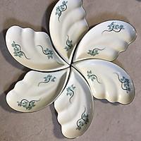 Bộ 6 đĩa cánh tiên vẽ sen xanh gốm sứ Bát Tràng