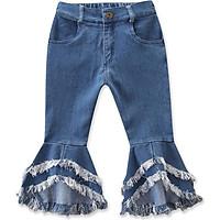 Children Kids Baby Girls Flare Pants Denim Tassel Jeans Pants