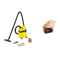 Combo Máy hút bụi khô & ướt cao cấp Karcher WD 2 Cartridge filter và túi lọc bụi - Hàng Chính Hãng