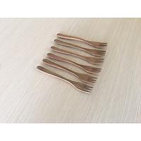 Bộ 6 Dĩa gỗ KEO nhỏ màu gỗ trầm 3 chấu 14,7cm-DG02