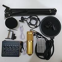 Trọn Bộ Míc Thu Âm Livestream Hát Karaoke Online Micro BM-900+ CARD V10 Bluetooth+Chân kẹp+ màng lọc