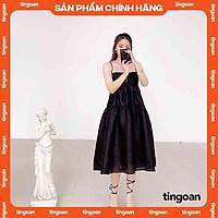 Váy hai dây dài khoét nơ lưng đen tingoan L.A LADY MIDI DRESS/BL