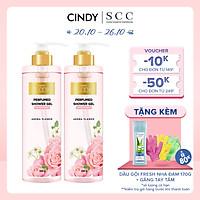 Combo 2 chai Sữa tắm nước hoa dưỡng ẩm sáng da Cindy Bloom Aroma Flower mùi hương ngọt ngào nữ tính 640g