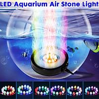 12V LED RGB Aquarium Underwater LED Light Air Bubble Stone Round Multi Color Waterproof LED Light for Fish Tank -- EU plug