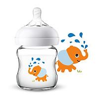 Bình Sữa Cho Bé Hình Chú Voi Dễ Thương Philips Avent wide-diameter orange elephant natural glass bottle 120ml