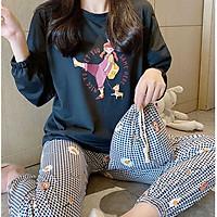 Đồ bộ dài đồ mặc nhà pijama caro không cổ  họa tiết cô gái trẻ trung siêu cute mẫu mới 2020