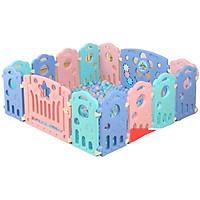 Quây cũi nhựa nguyên sinh 12 cạnh sắc màu có đồ chơi cho bé BR9502