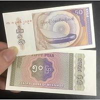 Tiền Myanmar 50 pyas nhỏ xinh, kèm phơi nilong bảo quản tiền
