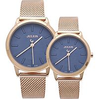 Đồng hồ đôi Julius Dây kim loại Ju1231 Vàng hồng mặt xanh