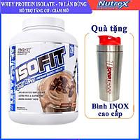 Combo Sữa tăng cơ giảm mỡ cao cấp ISOFIT của Nutrex hương Chocolate hộp 70 lần dùng hỗ trợ tăng cơ, giảm cân, đốt mỡ cho người tập GYM & Bình INOX 739ml (Mẫu ngẫu nhiên)
