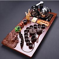 Bàn trà điện đa năng Cóc mang tài lộc - Ấm chén đen