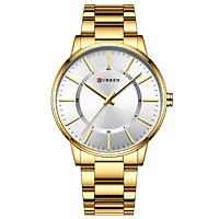 CURREN Men's Quartz Watch with Stainless Steel Strap Fashion Multifunction Wristwatch 3ATM Watches