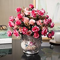 Bình hoa sứ hoa hồng 2 màu sang đẹp