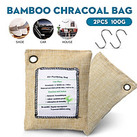 2/4/6/8Pcs 100g Bamboo Charcoal Bags with Hooks Activated Carbon Air Fresh Purifier Deodorizer Formaldehyde Adsorption